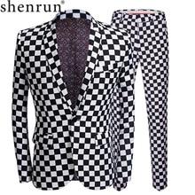 SHENRUN ファッションスーツの男性黒白のチェック柄プリント 2 枚セット最新コートパンツデザインのウェディングステージ歌手スリムフィット衣装