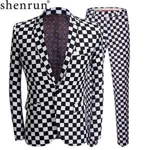 Image 1 - SHENRUN Fashion Suit Men Black White Plaid Print 2 Pieces Set Latest Coat Pant Designs Wedding  Stage Singer Slim Fit Costume