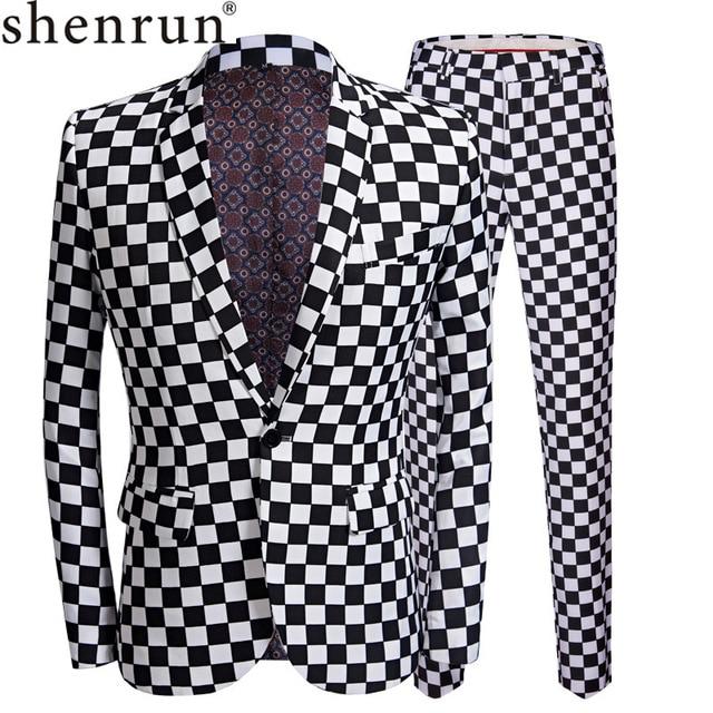 SHENRUN Fashion Suit Men Black White Plaid Print 2 Pieces Set Latest Coat Pant Designs Wedding  Stage Singer Slim Fit Costume