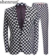 Shenrun 패션 정장 남자 블랙 화이트 격자 무늬 인쇄 2 조각 세트 최신 코트 바지 디자인 웨딩 스테이지 가수 슬림 맞는 의상