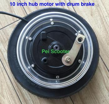 10 inch 10inch double axle brushless gearless dc scooter hub wheel motor with drum brake phub-208