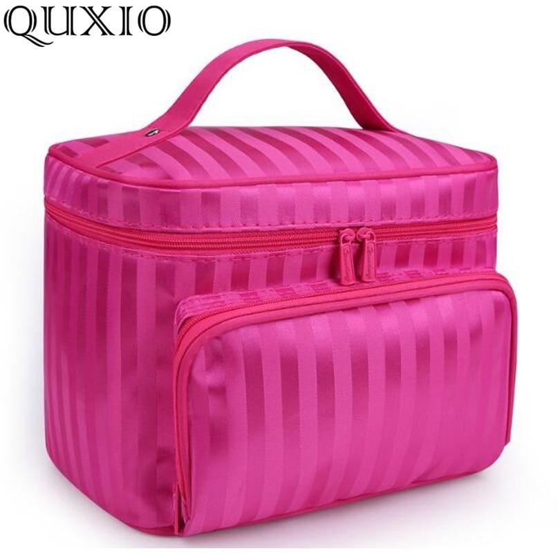 Woman Cosmetic Bags Striped Pattern Organizer Makeup Bag Folding Travel Toiletry Bag Large Capacity Storage Beauty Bag ZL900Z striped drawstring wrap around makeup bag