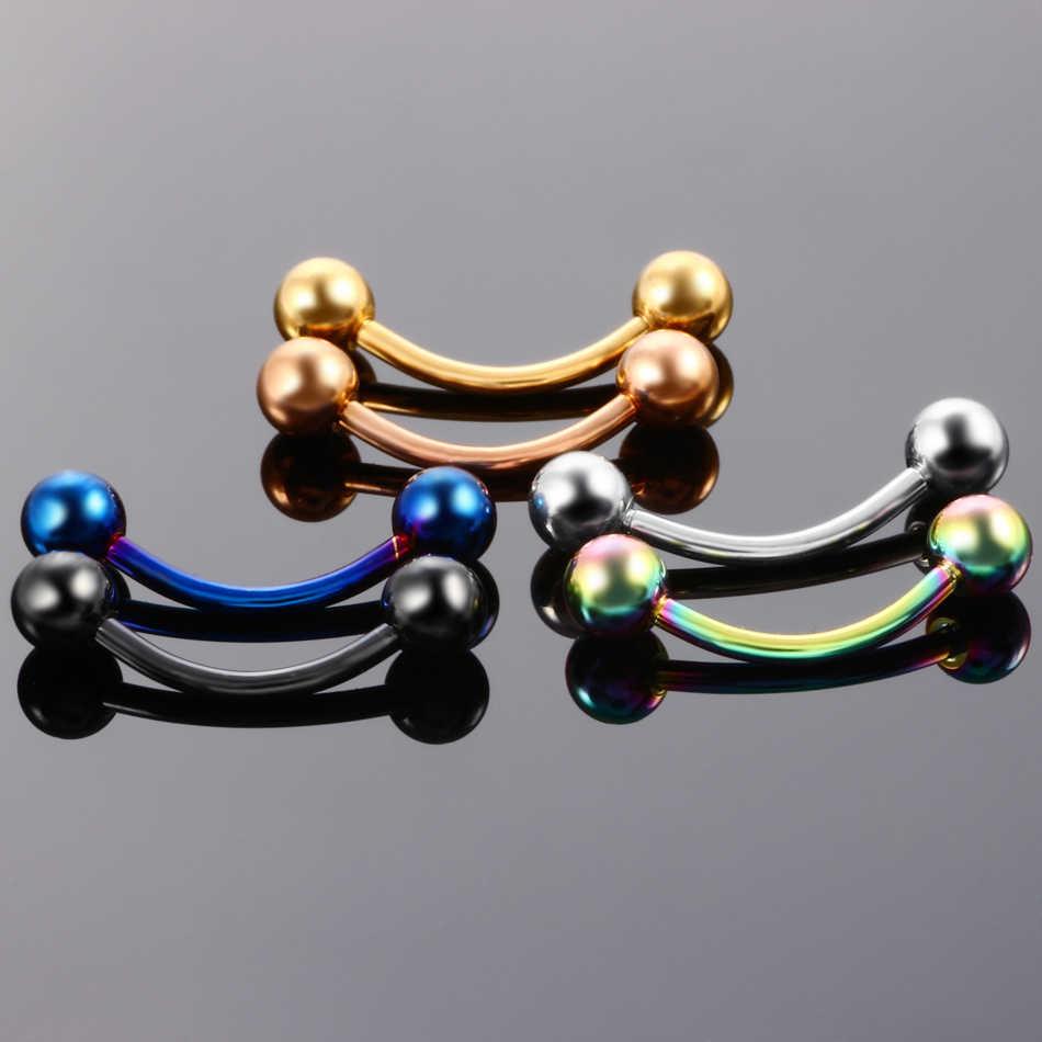 ล็อตของ2ชิ้นไทเทเนี่ยมโนไดซ์ที่มีสีสันโค้งยกน้ำหนักเจาะคิ้วแหวนแฟชั่นสาวเครื่องประดับ