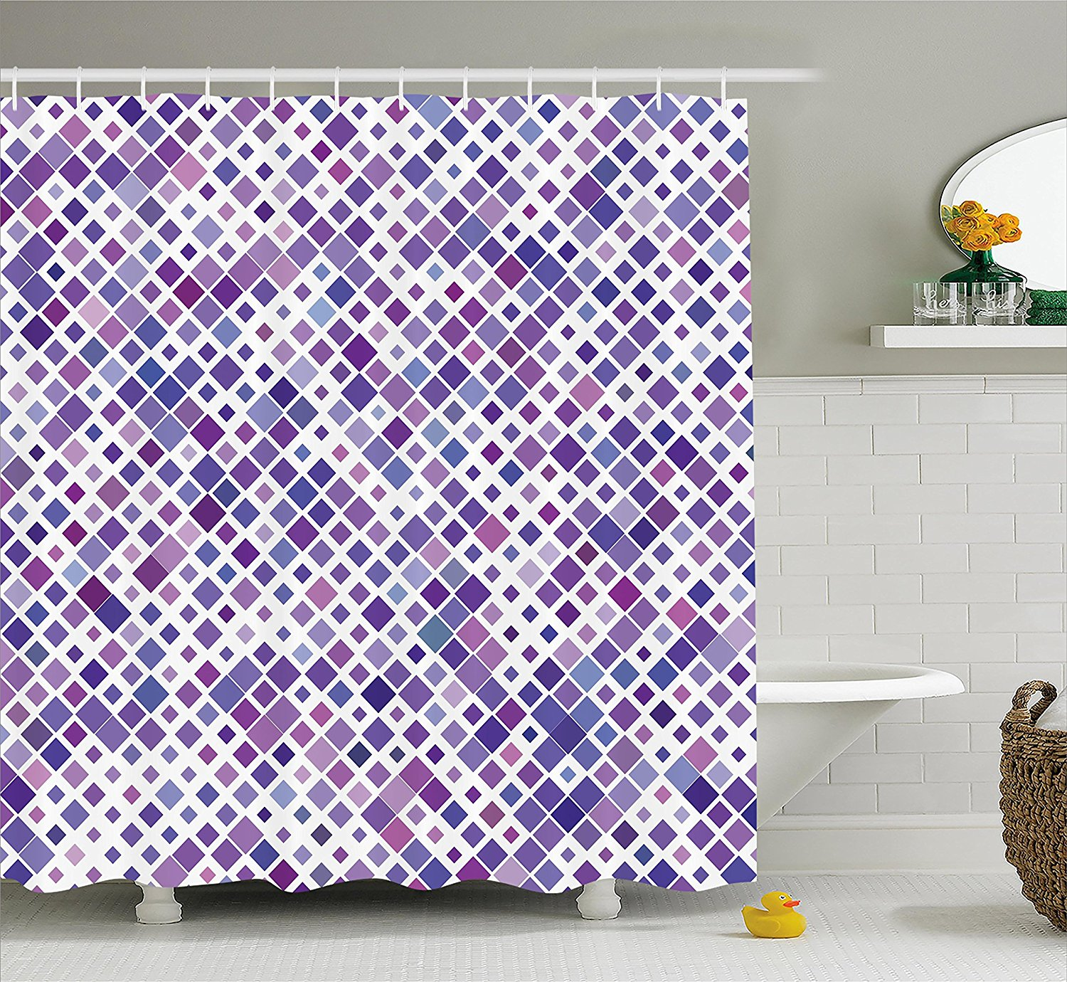 Us 13 02 43 Off Lavender Shower Curtain Set Purple Retro Mosaic Creative Pattern Square Rhythm Abstract Art Print Design Fabric Bathroom Decor In