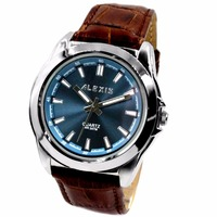 Alexis Fashion Men Analog Quartz Round Watch Japan Miyota Movement Brown Geninue Leather Strap Blue Dial Water Resistant