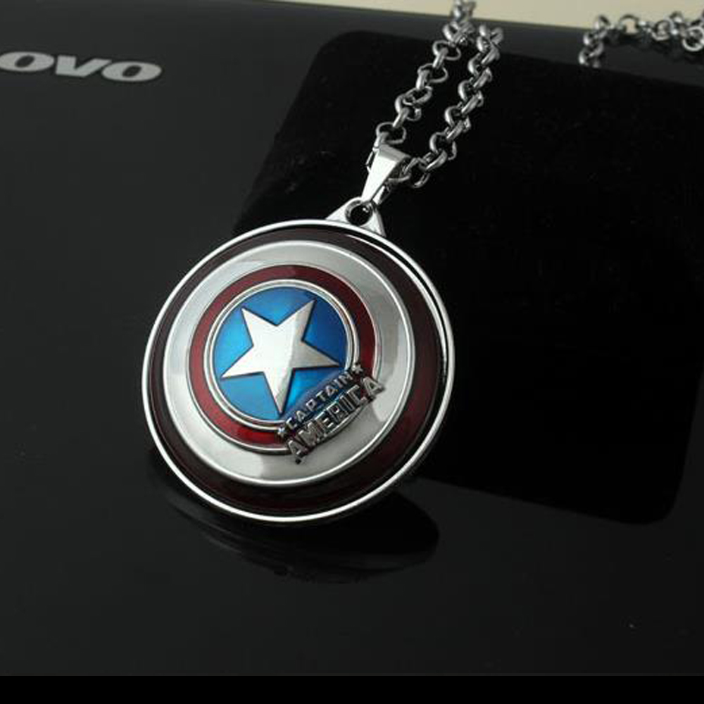 Captain America Shield 361L stainless steel chain Men's necklace with chain clavicle titanium steel jewelry wholesale