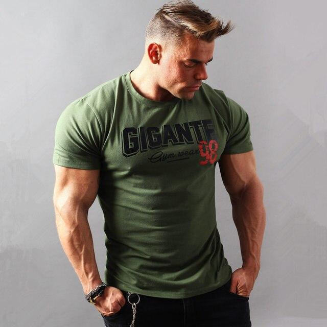 2018 новый летний стиль мужские хлопок короткий рукав Футболка тренажерные залы Фитнес мужской рубашки Повседневная мода печатных футболка с круглым вырезом Топы Одежда