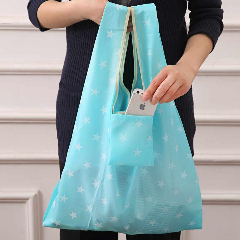 Новая горячая распродажа, модная Складная зеленая хозяйственная сумка с принтом, сумка-тоут, складная сумка, удобная вместительная сумка для хранения