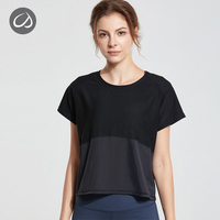 CRZ YOGA Women's UPF 50+ UV/Sun Protection Mesh Short Sleeve Cropped Sport Shirt