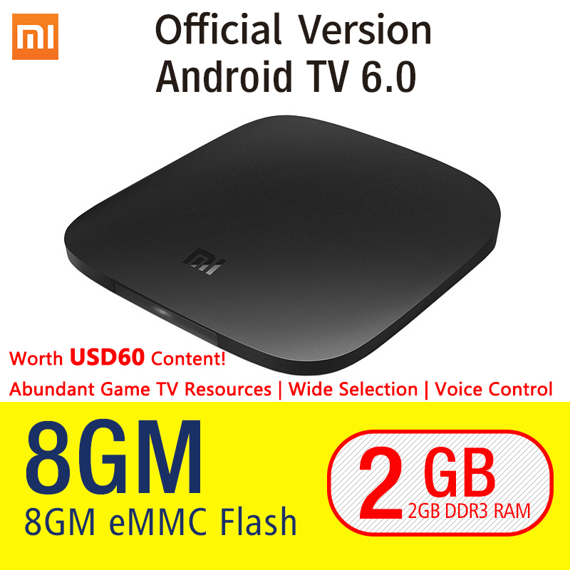 Original Xiaomi MI TV BOX 3 Android 6.0 2/8G Smart 4K Quad Core HDR Movie Set-top WIFI Google Play Netflix Red Bull Media Player