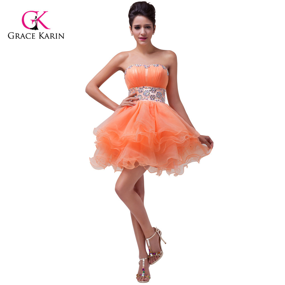 4bd81cc11cc969 Grace Karin Orange Sweetheart Back to School Prom Short Homecoming Dress  Girl Mini Party Ball Gown Crystal Cocktail Dress 4793-in Homecoming Dresses  from ...
