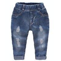 Джинсы для мальчиков детские рваные спрей белые джинсы Демисезонный Высокое качество детская Повседневное Штанишки для малышей Дети Мода ...