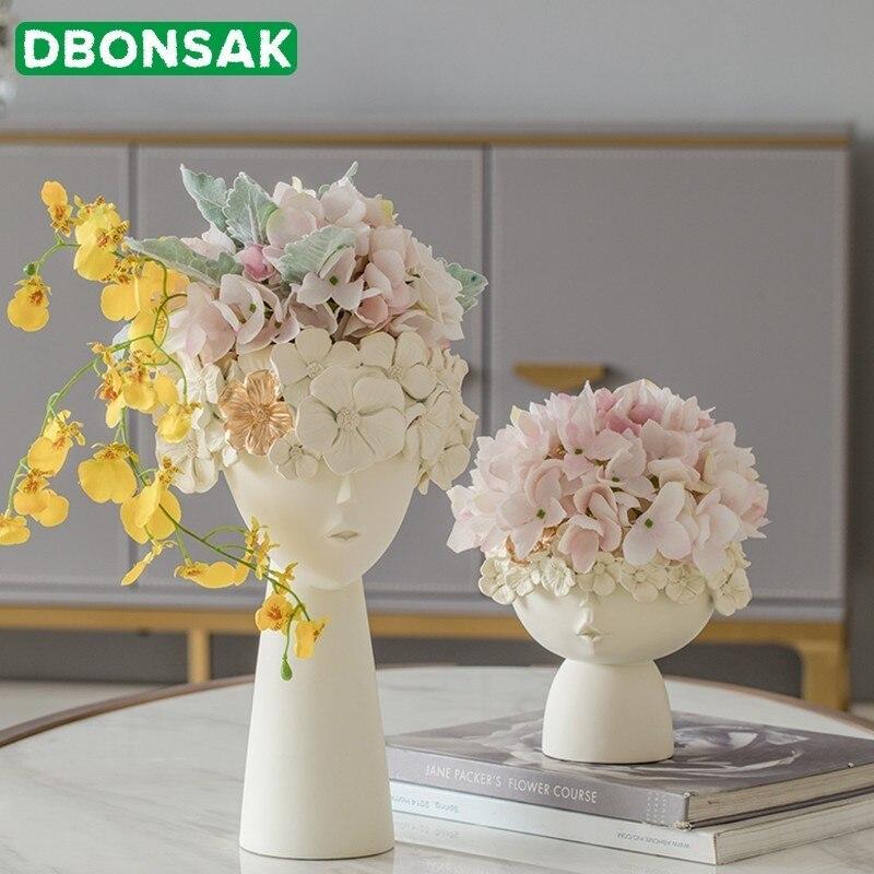1 para kreatywny ludzkiej głowy wazon rozmaitości pudełko do przechowywania żywica dekoracyjna wazon ogród rzeźba Model domu dekoracja pokoju ozdoby w Doniczki i skrzynki do kwiatów od Dom i ogród na  Grupa 1