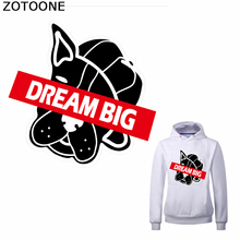 ZOTOONE Dream Big Iron on Patches Cartoon Puppy Patch for Clothing Diy Heat Transfer Stickers A-Level DIY Washable Application E
