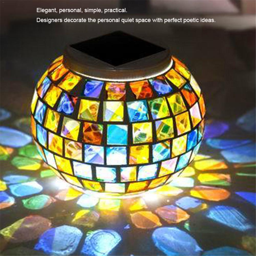 Solar Powered Mosaic Glass Waterproof Rechargeable Light Colorful Small Broken Glass Solar Street Light Dropship 6.29