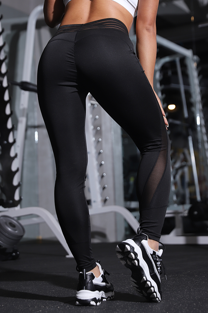 Normov High Waist Leggings For Women Fitness Leggin Pants Heart Solid Polyester Casual Breathable Stretch Mesh Leggings Women
