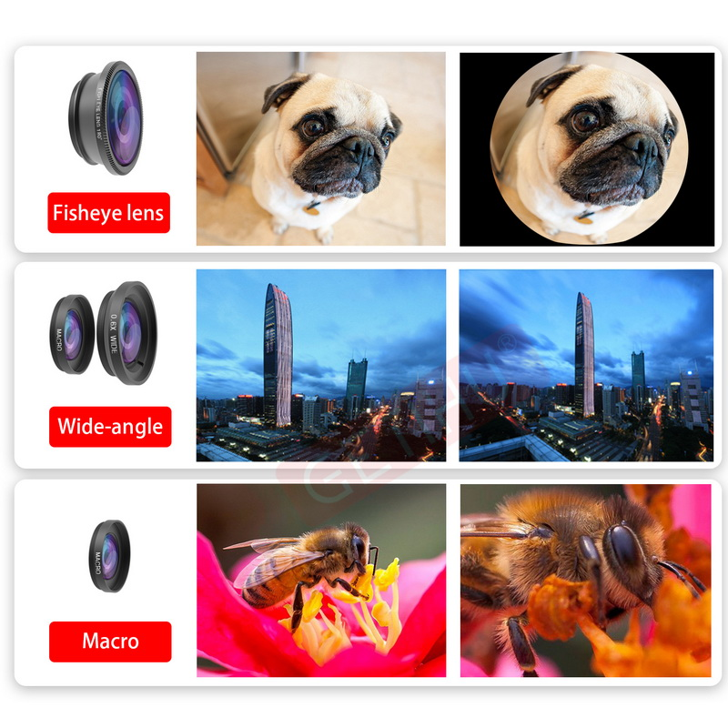 Universal Fisheye Lens 3 in 1 Mobile Phone Clip Lenses Fish Eye Wide Angle Macro Camera Lens for Smartphone iPhone 6 Microscope 6