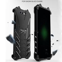 Dla Xiaomi czarne etui z rekinem R JUST, odporna na wstrząsy, luksusowa aluminiowa obudowa metalowa do telefonu Xiaomi Black Shark Coque mi BlackShark