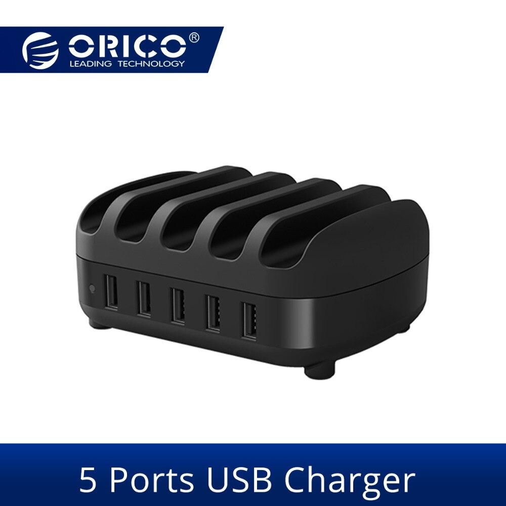 ORICO 5 יציאות USB מטען תחנת Dock עם מחזיק 40 W 5V2. 4A * 5 USB טעינה עבור טלפון חכם Tablet PC להחיל לבית ציבורי
