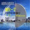 1.67 índice de lentes ópticas MR-7 recorte marco sin rebordes de la lente asférica photochromic función de revestimiento de Diamante-tachonado espectáculo