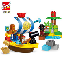 GOROCK 63pcs Pirate Series the Jake's Pirate Ship Bucky Model Big Particle Building Blocks Set Toys Compatible With Duploe Gifts for 71042 in stock lepin 16042 2344pcs pirate ship series the slient mary set model building kits set blocks bricks toys gift