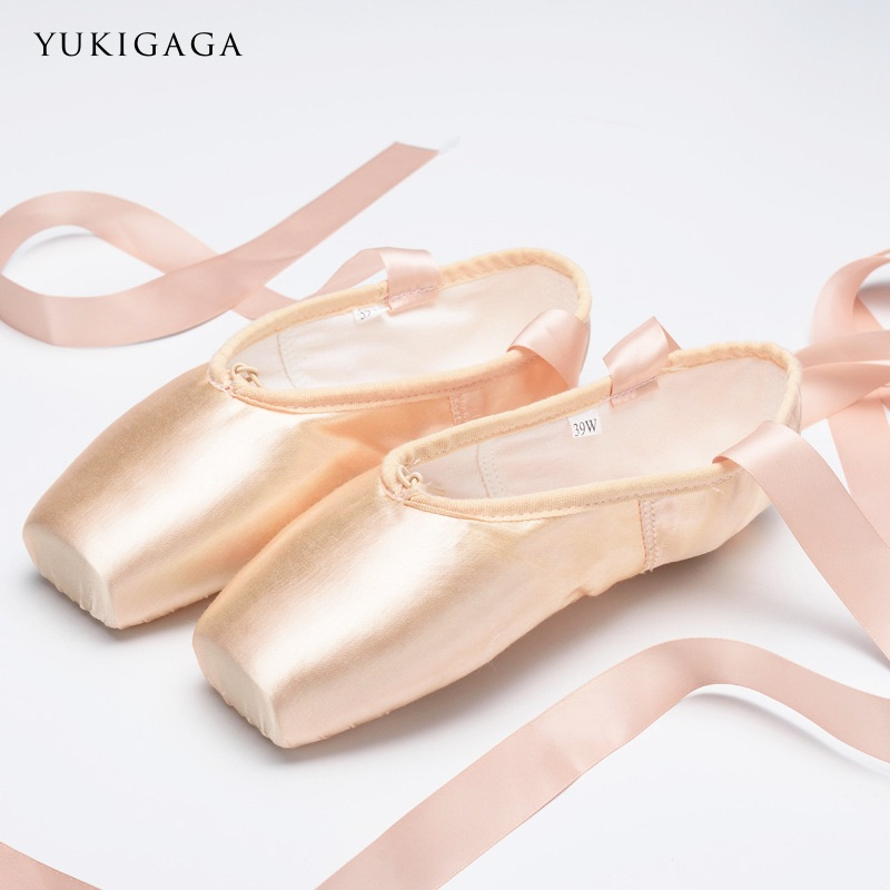 New Satin Ballet Dance Pointe Toe Shoes Pointe Silk Ribbon Shoes Toe Pad Girls Pink Professional Ballet Shoes For Ballet(China)