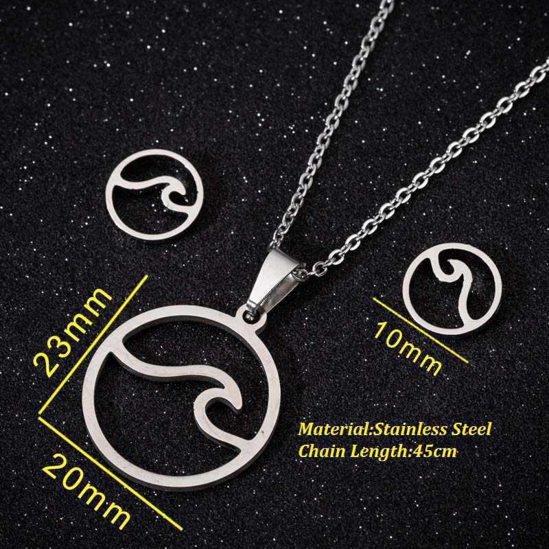 Oly2u Fashion Surf Sea Pendant Necklace Jewelry Sets for Women Stud Earrings Ocean Wave Necklace Round Necklaces Beach Gift
