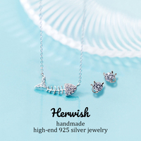 Herwish Cute Fishbone & Naughty Cat Neclace and Earring Jewelry Set 925 Sterling Silver Girlfriend Gift Funny Pendants Necklace