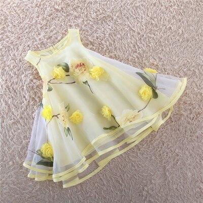 ФОТО Girls dress is the new 2016 summer children's princess dress organza flowers vest drees of bitter fleabane bitter fleabane
