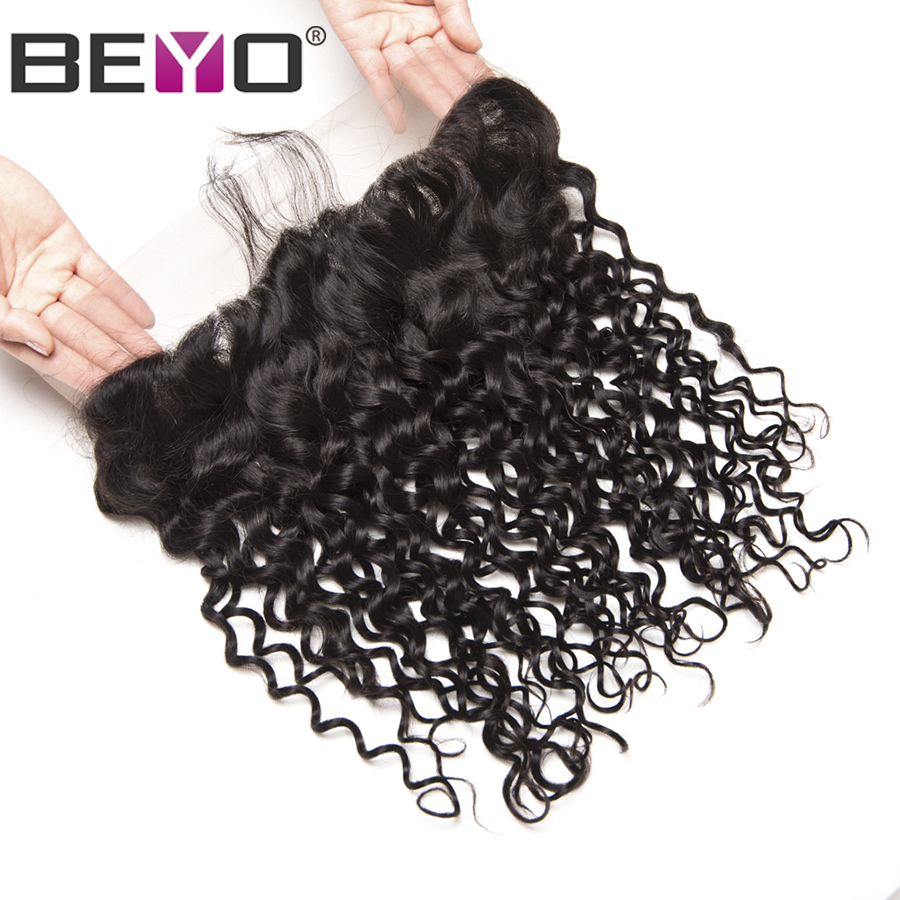 Beyo Pre Plucked Blonde Frontal Closure Brazilian Water Wave 13x4 Øre til Øre Med Baby Hair 8-24 Inch Human Hair Closure Non-Remy