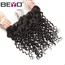 Beyo Pre Plucked Lace Frontal Closure Brazilian Water Wave 13×4 Ear to Ear With Baby Hair 100% Human Hair Non-Remy 8-22 Inch
