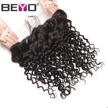 Beyo Pre Plucked Lace Frontal Closure Brazilian Water Wave 13x4 Ear to Ear With Baby Hair 8-24 Inch Human Hair Closure Non-Remy(China)