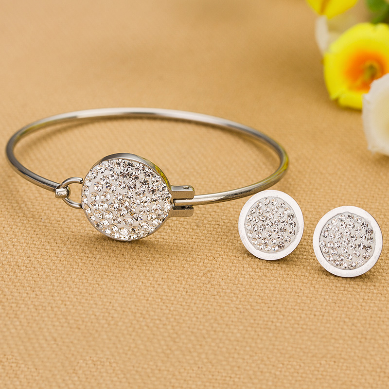 Fashion Full Crystal Jewelry sets Conventions life earrings + Bangles Noble Wedding jewelry for women ...