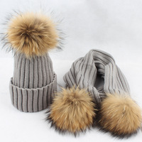 Baby Winter Hat Set With Scarf Neck Warmer Cap For Boys Girls Kids Children Raccoon Fur