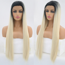 Charisma Ombre Blonde Wig Straight Hair Synthetic Lace Front Wig High Temperature Wigs with Black Roots Free Part Lace Wigs