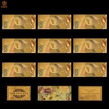 10 sztuk rosyjski puchar świata w piłce nożnej złoty banknot 100 rubli replika złota folia pieniądze Bill kolekcja papieru do wystroju domu