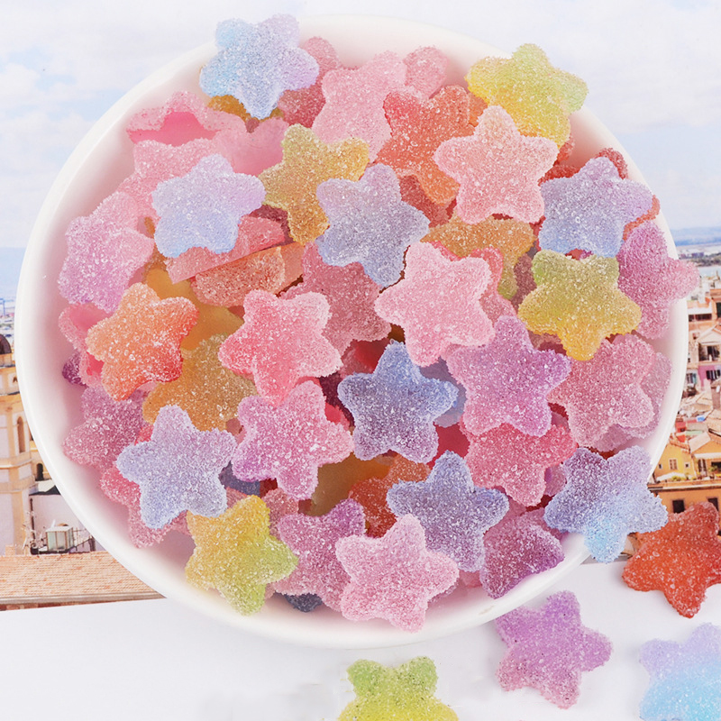 Happy Monkey 20pcs/pack Slime Supplies DIY Resin Star Candy Slices Slime Charms Addition For Fluffy Clear Crystal Slime Clay