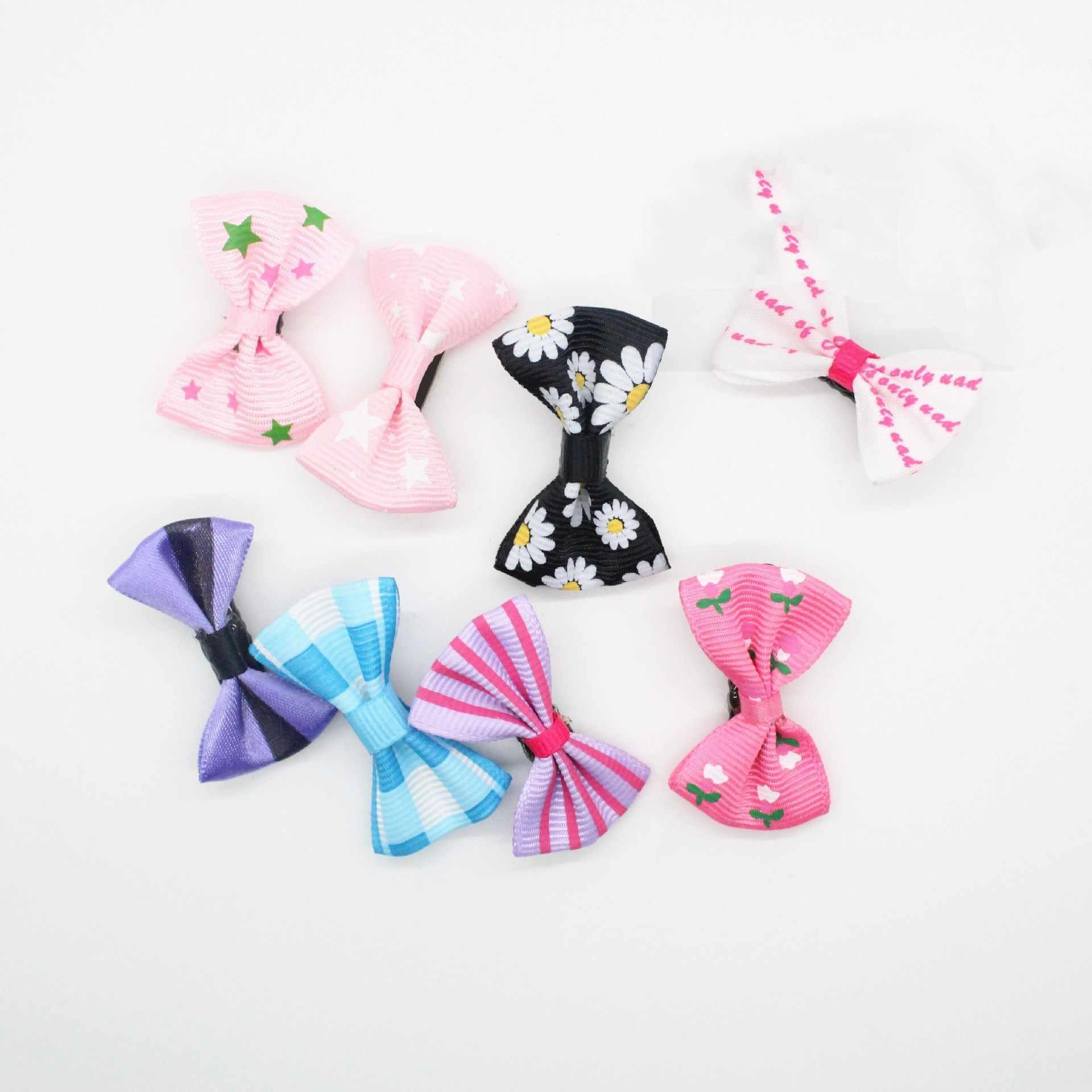 5 stks/partij Hond Kitten Puppy Leuke Pet Grooming Effen Katoen Boog Bloem Haarspelden Vlinder Haar Clips Haarspeld Accessoires