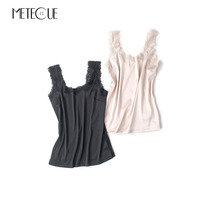Lace Patchwork Bottom Summer Tops For Women Imitation Silk Casual Womens Tank Tops Multi Color Inner