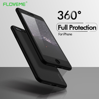 FLOVEME 360 Protective Case For iPhone 6 6S 7 Plus 5 5S SE Tempered Glass Front Back Cover Full Body Coverage Protection Shells