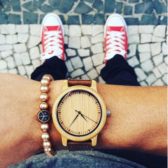BOBO BIRD Lovers' Watches Women Relogio Feminino Bamboo Wood Men Watch Leather Band Handmade Quartz Wristwatch erkek kol saati 1