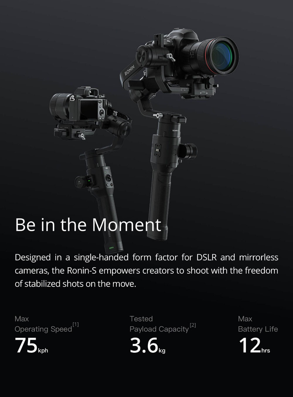 DJI Ronin S Standard Kit and Essentials Kit Superior 3-Axis Stabilization Camera Control Fine Focus Control in stock brand new