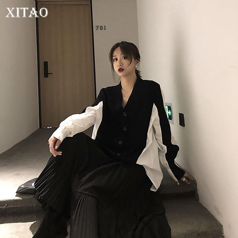 XITAO تصميم الشعور بلوزة كوريا أزياء المرأة الجديدة V الرقبة جديد حك خليط فضفاض كم كامل بالأزرار عارضة 2019 WBB4143-في بلوزات وقمصان من ملابس نسائية على  مجموعة 1