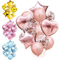 14 шт./лот, набор из розовых шариков с конфетти, вечерние воздушные шары для дня рождения, украшения для свадьбы, дня рождения, баллон «сделай ...