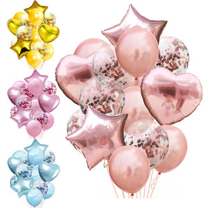 14pcs/lot Mixed Rose Gold Balloon Confetti Set Birthday Party Balloon Air Ball Wedding Birthday Ballon Decor Baloon DIY(China)