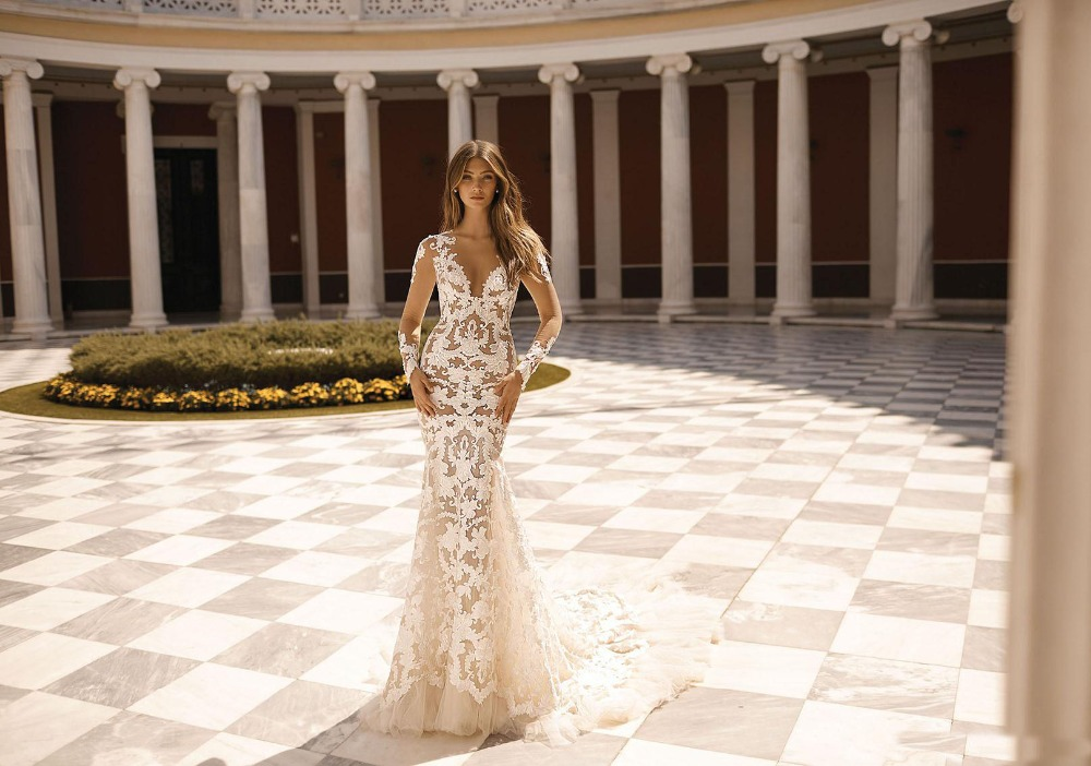 2019 Berta Beach Mermaid Wedding Dress Long Sleeve Sheer