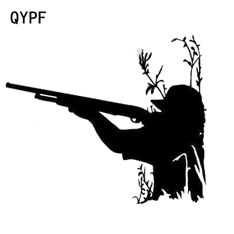 QYPF 13.8cm*11.5cm Fashion Shooting Funny Hunting Car Stickers Decals S2-0329