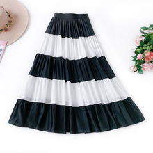 Literary Temperament Casual Skirt Summer Casual Striped A-Line Mid-Calf 2019 Ruffled Large Swing Tutu High Waist Striped Skirt