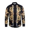 Бесплатная доставка Мода осень Новый Harajuku марка Длинные рукава Рубашки medusa 3D печати Zebra Полосы Цветы мужские Высокого конец рубашки