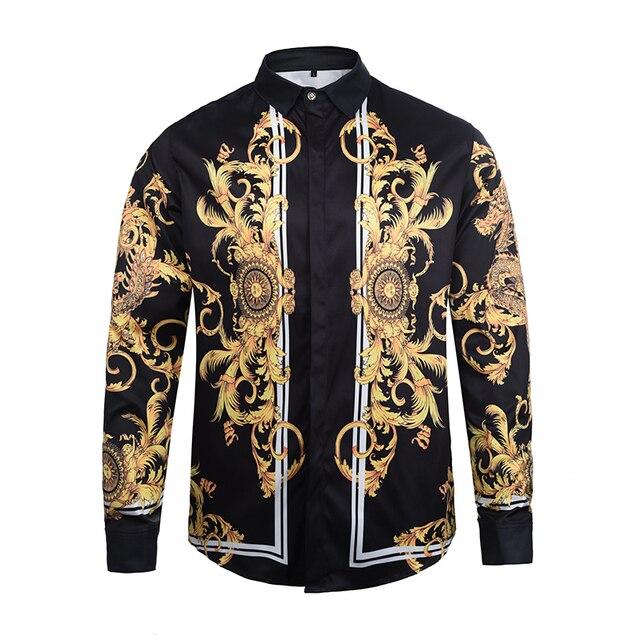 free shipping Fashion autumn New Harajuku brand Long sleeves Shirt medusa 3D print Zebra Stripes Flowers Men's High-end shirt